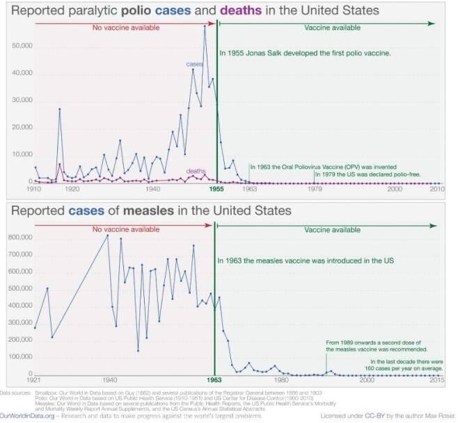 소아마비(위)와 홍역(아래) 백신 개발 전 과 후의 감염자 비교. Our World in Data