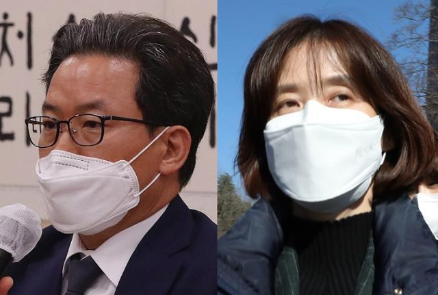 심재철 법무부 검찰국장과 박은정 감찰담당관. 한국일보·연합뉴스