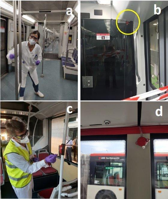 코로나19 바이러스 검사를 위해 연구진이 스페인 바르셀로나의 지하철(A)과 버스(C)에서 표면 시료를 채취하고 있다. 아울러 지하철(B)와 버스(D)에서 공기 시료도 채집했다. 사진=바르셀로나대학