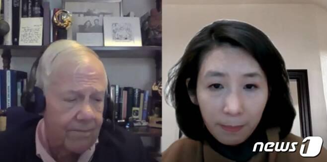 세계적인 투자자 짐 로저스 로저스홀딩스 회장(좌)이 15일 뉴스1과 스카이프를 통해 화상 인터뷰를 하고 있다. © 뉴스1