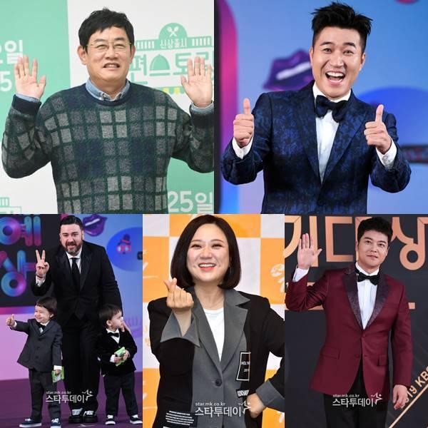 이경규-김종민-전현무-김숙-샘해밍턴(왼쪽 위부터 시계방향). 사진|스타투데이 DB