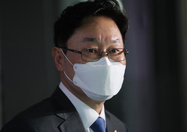 법무부 장관 후보자로 지명된 박범계 더불어민주당 의원이 30일 국회 의원회관에서 소감을 밝히고 있다. 오대근 기자.