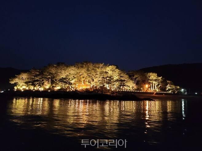 야간 경관조명 설치로 아름다워진 추봉 봉암해수욕장