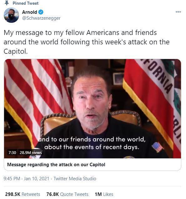 배우 아놀드 슈왈제네거가 10일 트위터에 올린 트럼프 대통령 비난 성명. 아놀드 슈왈제네거 트위터 캡처