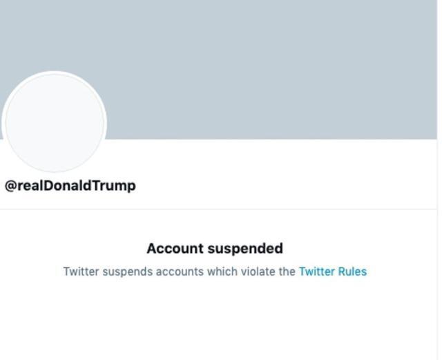 트위터가 영구 삭제 조치한 도널드 트럼프 미국 대통령 트위터 계정.