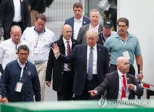 2017년 트럼프 내셔널 골프클럽에서 열린 US여자오픈을 참관한 트럼프 대통령. [AFP/게티이미지=연합뉴스]