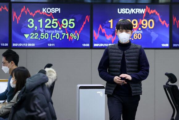 코스피지수가 전날보다 22.50(0.71%) 내린 3125.95에 거래를 마친 12일 오후 서울 중구 하나은행 딜링룸에서 한 딜러가 자리로 향하고 있다. 연합뉴스