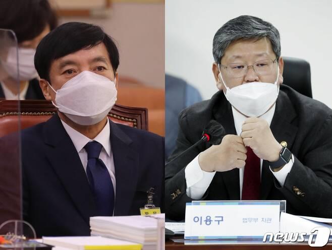 이성윤 서울중앙징검장(왼쪽)과 이용구 법무부 차관./ © 뉴스1