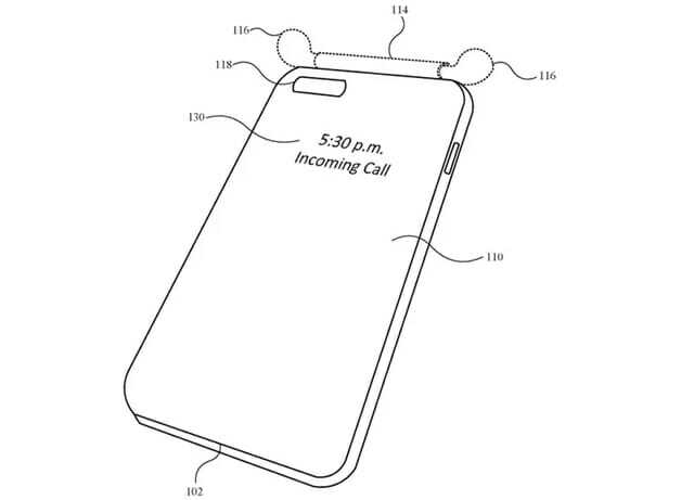 에어팟을 함께 보관하며 케이스에 디스플레이를 탑재해 정보를 표시해 주는 아이폰 케이스 (사진=미국 특허청)