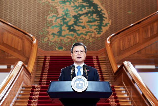 2021년 신년사 하는 문재인 대통령. 연합뉴스