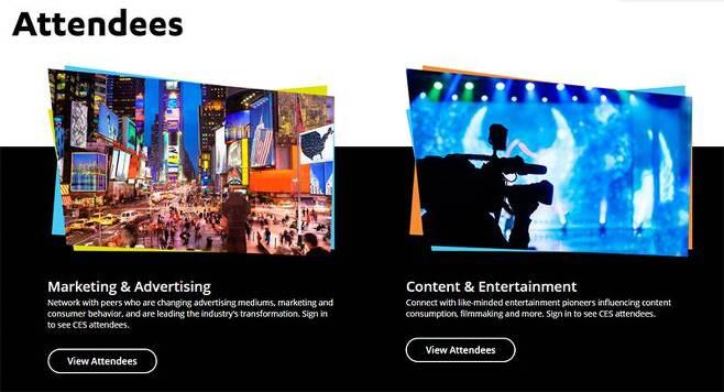 CES에 참석한 마케팅 및 광고, 콘텐츠 및 엔터테인먼트 참가자가 등록 시, 참가자간의 개인 접촉 및 메시지가 가능하다. 출처=CTA