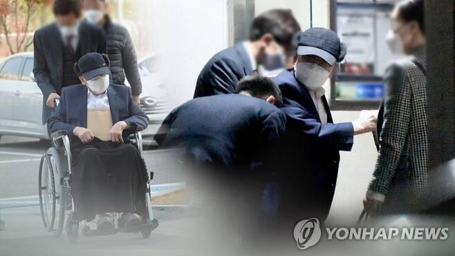 '휠체어 재판' 이만희, 집 앞에선 깜짝 '직립 보행'  (CG) [연합뉴스TV 제공]