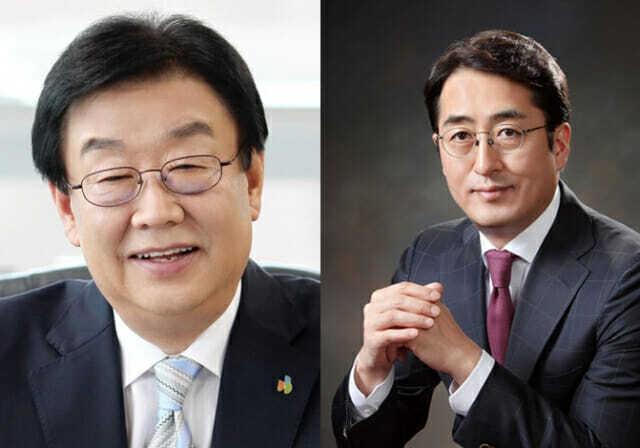 (왼쪽부터)김정남 DB손해보험 부회장과 김용범 메리츠화재 부회장