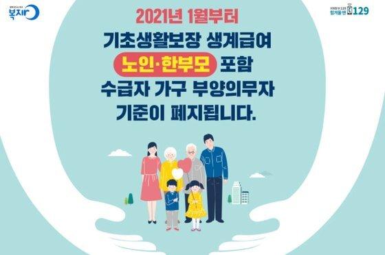 보건복지부는 올해 1월부터 국민기초생활보장제도 신청 가구 중 노인ㆍ한부모가 포함될 경우 부양의무제를 적용하지 않도록 기준을 완화했다. 2022년부터는 폐지된다. [보건복지부]