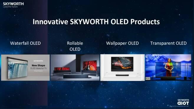 13일(미국 현지 시간) 스카이워스가 CES 때 공개한 출시 예고품 소개. 왼쪽에서 두 번째 LG전자 '롤러블 TV' 이미지를 무단 도용하고 자사 제품으로 둔갑시켰다/사진=스카이워스 CES 캡처