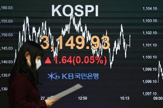 14일 오후 서울 영등포구 KB국민은행 여의도지점 스마트딜링룸에서 직원들이 업무를 보고 있다.  이날 코스피는 전일 대비 1.64포인트(0.05%) 오른 3149.93으로 거래를 마쳤다. 뉴스1