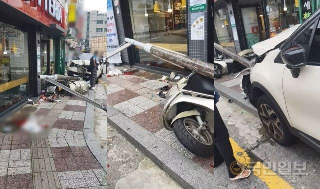 만취 상태로 7㎞ 정도를 달리던 김씨는 햄버거 가게 앞 가로등을 들이받고서야 멈췄다. 쓰러진 가로등에 머리를 크게 다친 이씨 아들은 사고 1시간 만에 숨졌다. 이씨 제공