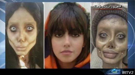 이란 방송은 '좀비 앤젤리나 졸리'로 불린 사하 타바르가 2019년 체포된 이후 인터뷰를 방송했다. [사진 IRTV2]