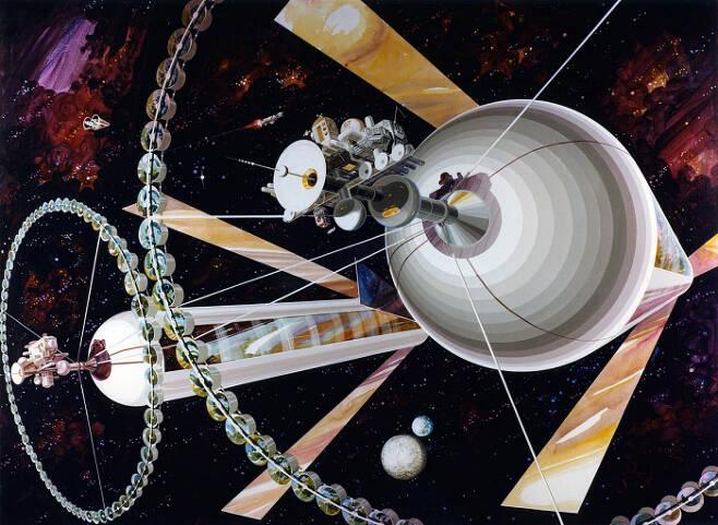 최근 핀란드 연구진이 왜소행성 '세레스' 상공에 띄우겠다고 한 우주식민지의 예시 모습. 길이 10㎞ 이상의 원통형 물체 내부에는 독립적인 생태계가 만들어지고 자체적인 회전으로 중력도 생성한다.  NASA 제공