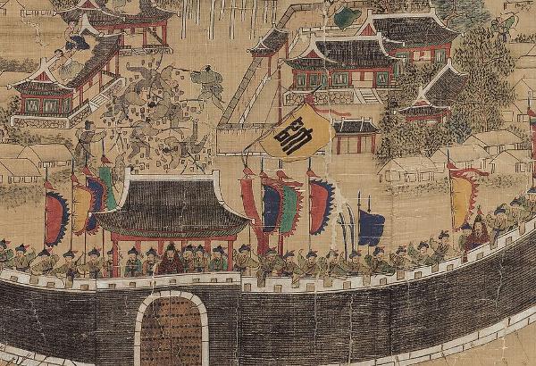 사진은 '동래부 순절도'의 일부인데, 활과 창을 쓰던 조선군과 조총을 사용했던 왜군의 현격한 군사력 차이를 알 수 있다. 국립고궁박물관 제공