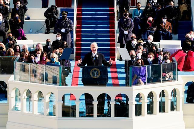 취임식에서 연설하는 바이든 미국 대통령. AFP 연합뉴스