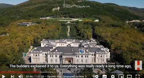 나발니가 공개한 '푸틴 궁전' 항공 사진. '반부패재단' 유튜브 영상 캡처