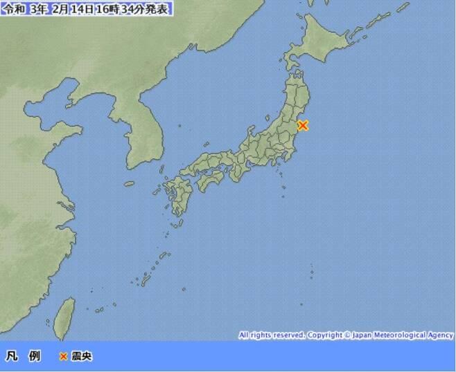 후쿠시마(福島)현 앞바다 규모 5.2 지진 [일본 기상청 홈페이지 캡처, 재판매 및 DB 금지]