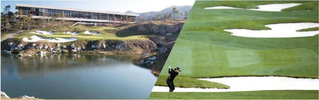 회원제 골프장인 휘슬링락CC의 클럽 하우스 모습(왼쪽)과 퍼블릭 골프장인 강원 하이원골프장. [사진 제공 = 휘슬링락CC·KLPGA]