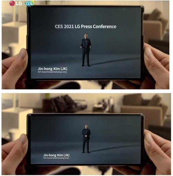 LG전자가 올해 1월 CES에서 영상으로 공개한 롤러블폰 이미지. /LG전자 영상 캡처