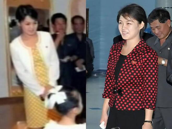 화려한 무늬의 원피스를 입은 북한 리설주 여사. 연합뉴스