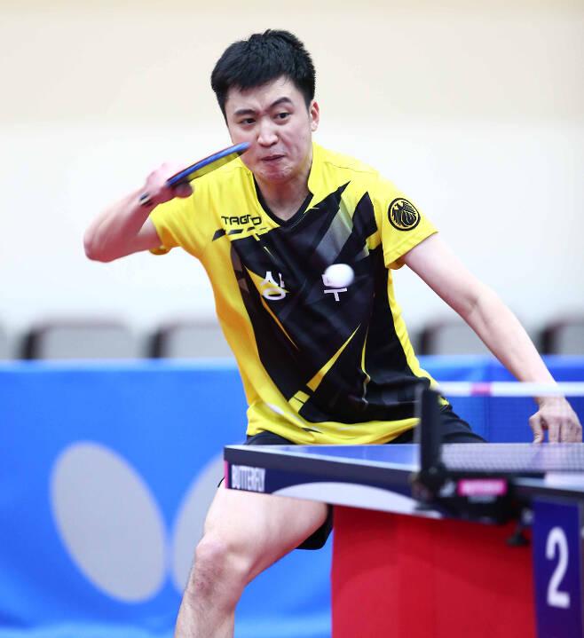 도쿄올림픽 국가대표 선발전에서 3위에 올랐지만 세계 랭킹과 복식 조합을 고려해 발탁된 정영식. 사진=월간 탁구 안성호 기자