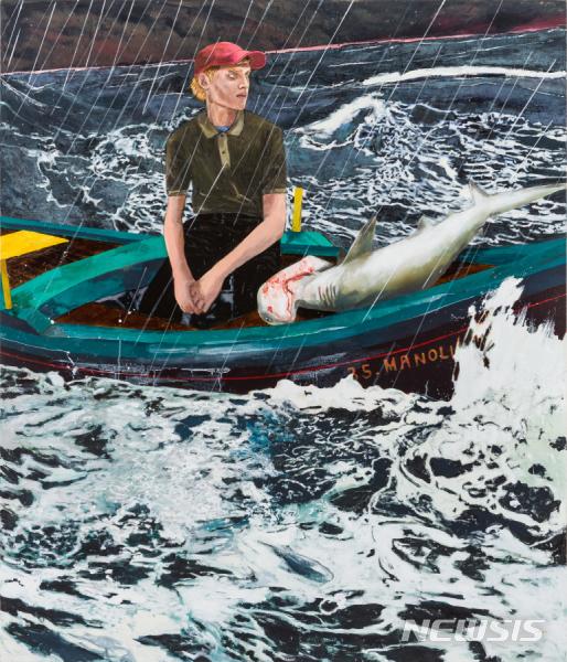 [서울=뉴시스]  헤르난 바스, The Young Man _ the Sea_Acrylic on Linen_213.4x182.9cm_2020