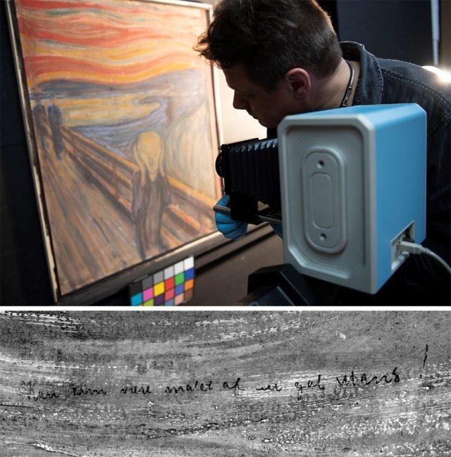 노르웨이 국립미술관에서 화가 에드바르 뭉크의 작품 '절규'(1893년)를 적외선 카메라로 촬영하고 있다(위쪽 사진). 그 결과 이 그림의 왼쪽 위에 적힌 문구(아래 사진)를 정확히 분석할 수 있었다. 연필로 쓴 '미치광이나 그릴 그림'이라는 글귀였다. 필적 대조 결과 이 문장은 뭉크가 직접 썼을 가능성이 높다고 미술관은 발표했다. 노르웨이 국립미술관 제공