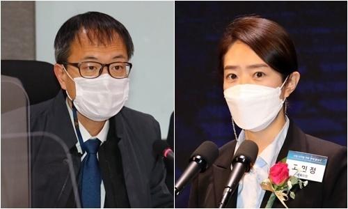 더불어민주당 박주민 의원(왼쪽)과 고민정 의원. 연합뉴스