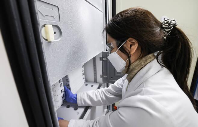 국립중앙의료원 의료진이 화이자 백신을 전용 냉동고에 넣고 있다. 국립중앙의료원 제공