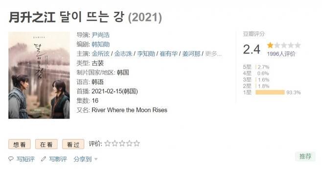 중국 누리꾼의 '별점 테러' 행렬로 인해 한국시간 26일 오후 4시 기준 중국의 최대 평론 사이트인 도우반에서 달이 뜨는 강의 평점이 별 5개 중에서 1.2개를 기록하고 있다. 10점 만점으로 치면 2.4점이다./사진=도우반 캡처