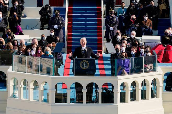 ⓒAFP PHOTO조 바이든 미국 대통령이 1월20일 취임식에서 선서를 마친 뒤 연설하고 있다.