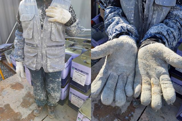 여수 국가 산업단지 내 도장작업을 하고 있는 한 건설노동자의 작업복. 장갑과 팔토시, 작업복 전체가 페인트로 뒤덮여 있다. 조끼를 제외한 모든 착용구들은 노동자 본인이 사비로 구입한 것이다. 노동자 김열곤씨 제공