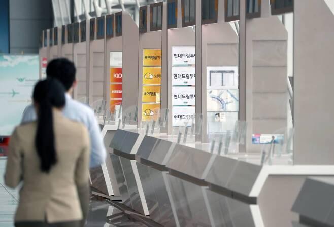 지난 4일 인천국제공항 1터미널 내 여행사 부스 구역이 한산하다. /사진=뉴시스