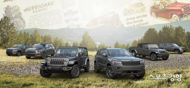 올해 80주년 기념을 맞은 지프 코리아가 '2021 지프 랭글러 80주년 에디션'을 비롯해 희소가치가 남다른 지프 SUV들을 선보였다.