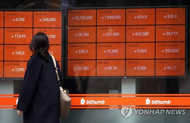 지난 2월 15일 오전 서울 빗썸 강남센터 암호화폐 시세 현황표.[연합뉴스 자료사진]