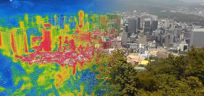 서울 남산에서 바라본 폭염경보가 내려진 도심의 모습. 열화상 이미지에서는 높은 온도는 붉은 색으로, 낮은 온도는 푸른색으로 표시된다. 연합뉴스 제공