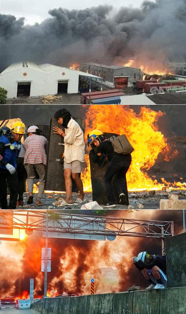양곤 훌라잉타야의 중국 투자공장들이 불타고 있다.  훌라잉타야 지역에서만 지난 주말 50여 명의 시민들이 숨졌다.