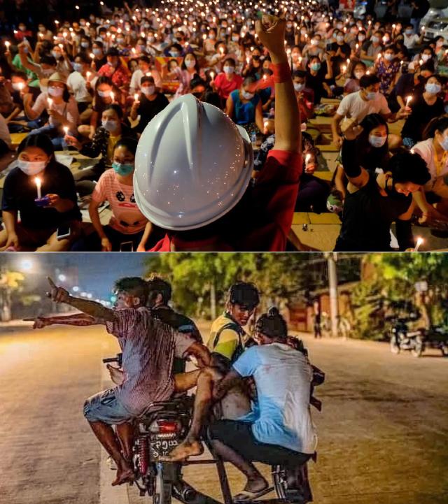 미얀마 시위대가 총에 맞은 시민을 위태롭게 오토바이로 이송하고 있다.