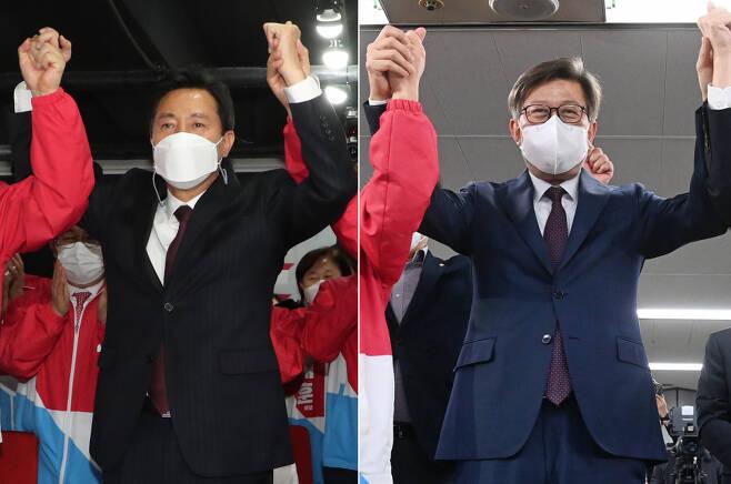 재보선에서 승리한 오세훈(왼쪽) 서울시장과 박형준 부산시장 ⓒ연합뉴스