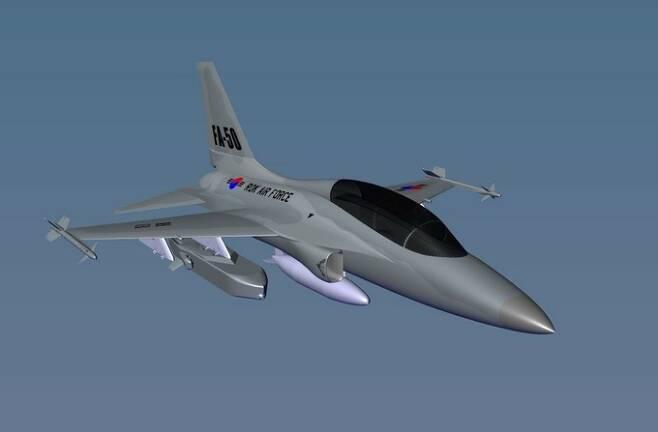 독일 타우러스시스템즈가 공개한 타우러스 350K-2 공대지미사일을 장착한 FA-50의 상상도. FA-50에 2발을 탑재한다. 타우러스시스템즈