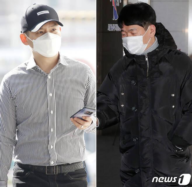 '불법도박장 개설 혐의'를 받고 있는 개그맨 김형인, 최재욱(오른쪽)이 22일 오후 서울 남부지방법원에서 열린 3차 공판에 각각 출석하고 있다. 2021.2.22/뉴스1 © News1 권현진 기자