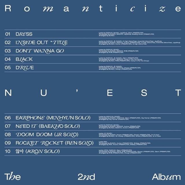 그룹 뉴이스트가 오는 19일 발매하는 두 번째 정규 앨범 'Romanticize(로맨티사이즈)'의 트랙리스트와 타이틀 곡명 'INSIDE OUT(인사이드 아웃)'을 공개했다. /플레디스엔터테인먼트