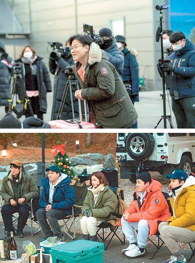 나영석 PD가 tvN 예능 '출장십오야'에서 '슬기로운 캠핑생활' 촬영 현장에 찾아가 배우들과 게임을 진행하는 장면. CJ ENM 제공
