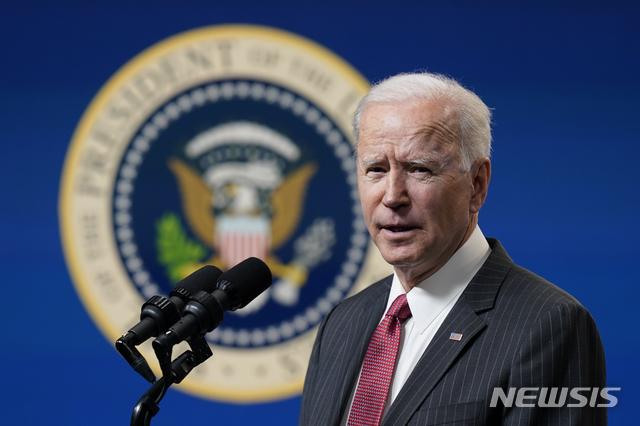 [워싱턴=AP/뉴시스]조 바이든 미국 대통령. 2021.02.11.